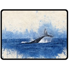 Whale Watercolor Sea Double Sided Fleece Blanket (large)  by BangZart