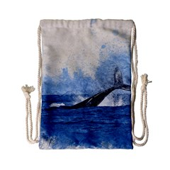 Whale Watercolor Sea Drawstring Bag (small)