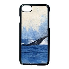 Whale Watercolor Sea Apple Iphone 8 Seamless Case (black)