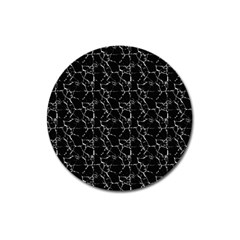 Black And White Textured Pattern Magnet 3  (round) by dflcprints