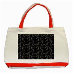 Black And White Textured Pattern Classic Tote Bag (red) by dflcprints