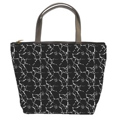 Black And White Textured Pattern Bucket Bags by dflcprints