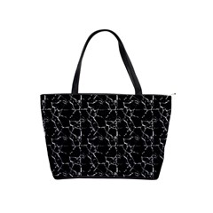 Black And White Textured Pattern Shoulder Handbags by dflcprints