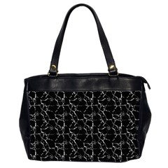 Black And White Textured Pattern Office Handbags (2 Sides)  by dflcprints