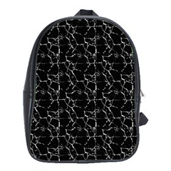 Black And White Textured Pattern School Bag (xl) by dflcprints