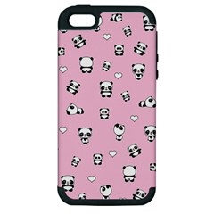 Panda Pattern Apple Iphone 5 Hardshell Case (pc+silicone) by Valentinaart