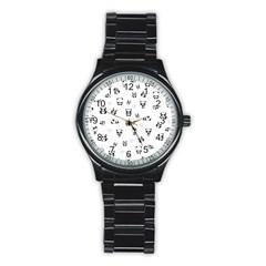 Panda Pattern Stainless Steel Round Watch by Valentinaart