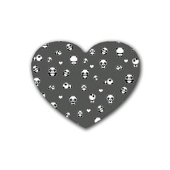 Panda Pattern Rubber Coaster (heart)  by Valentinaart