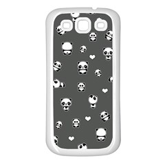Panda Pattern Samsung Galaxy S3 Back Case (white) by Valentinaart