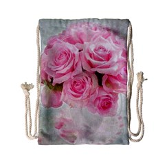 Pink Roses Drawstring Bag (small) by 8fugoso