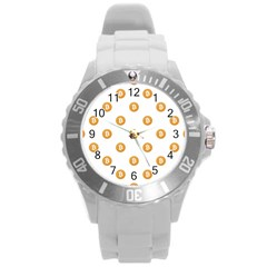 Bitcoin Logo Pattern Round Plastic Sport Watch (l) by dflcprints
