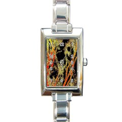 Artistic Effect Fractal Forest Background Rectangle Italian Charm Watch by Amaryn4rt