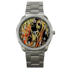 Artistic Effect Fractal Forest Background Sport Metal Watch by Amaryn4rt