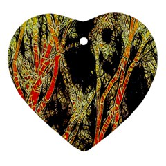 Artistic Effect Fractal Forest Background Heart Ornament (two Sides) by Amaryn4rt