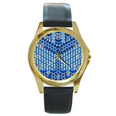 Flower Of Life Pattern Blue Round Gold Metal Watch by Cveti