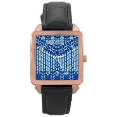Flower Of Life Pattern Blue Rose Gold Leather Watch  by Cveti