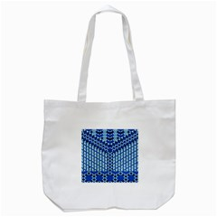 Flower Of Life Pattern Blue Tote Bag (white) by Cveti