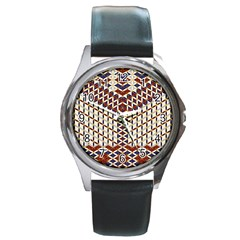 Flower Of Life Pattern Red Blue Round Metal Watch by Cveti