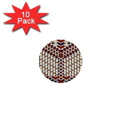 Flower Of Life Pattern Red Blue 1  Mini Buttons (10 Pack)  by Cveti