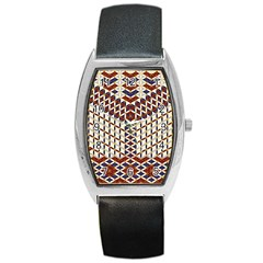 Flower Of Life Pattern Red Blue Barrel Style Metal Watch by Cveti