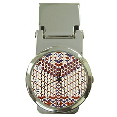 Flower Of Life Pattern Red Blue Money Clip Watches by Cveti