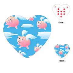 Flying Piggys Pattern Playing Cards (heart)  by allthingseveryday