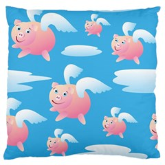 Flying Piggys Pattern Large Flano Cushion Case (one Side) by allthingseveryday