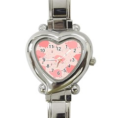 Pigs And Flowers Heart Italian Charm Watch by allthingseveryday