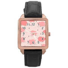 Pigs And Flowers Rose Gold Leather Watch  by allthingseveryday