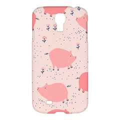 Pigs And Flowers Samsung Galaxy S4 I9500/i9505 Hardshell Case by allthingseveryday