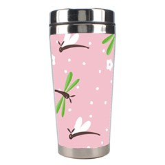 Dragonfly And White Flowers Pattern Stainless Steel Travel Tumblers by allthingseveryday
