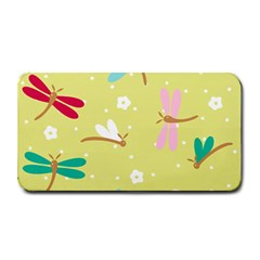 Colorful Dragonflies And White Flowers Pattern Medium Bar Mats