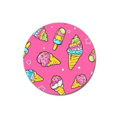 Summer Ice Creams Flavors Pattern Magnet 3  (round) by allthingseveryday