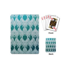 Teal Art Nouvea Playing Cards (mini)  by 8fugoso