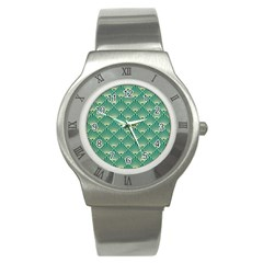 Green Fan  Stainless Steel Watch by 8fugoso