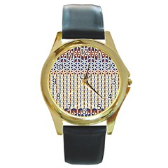Flower Of Life Pattern 2 Round Gold Metal Watch by Cveti