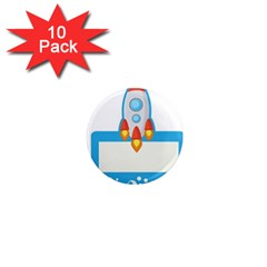 Rocket Spaceship Clip Art Clipart 1  Mini Magnet (10 Pack)  by Celenk