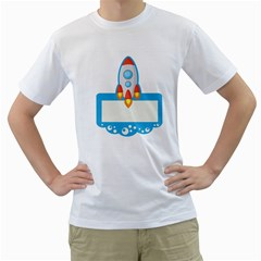 Rocket Spaceship Clip Art Clipart Men s T Shirt (white) (two Sided) by Celenk