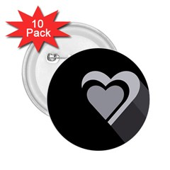 Heart Love Black And White Symbol 2 25  Buttons (10 Pack)  by Celenk
