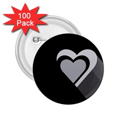 Heart Love Black And White Symbol 2 25  Buttons (100 Pack)  by Celenk