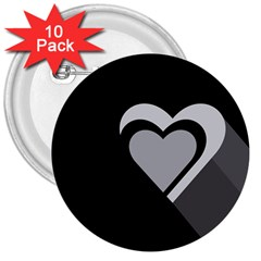 Heart Love Black And White Symbol 3  Buttons (10 Pack)  by Celenk
