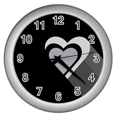 Heart Love Black And White Symbol Wall Clocks (silver)  by Celenk