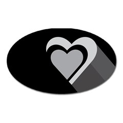 Heart Love Black And White Symbol Oval Magnet by Celenk