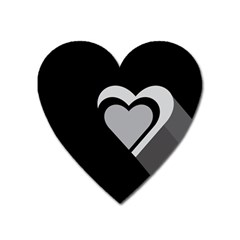 Heart Love Black And White Symbol Heart Magnet by Celenk