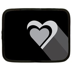 Heart Love Black And White Symbol Netbook Case (large) by Celenk