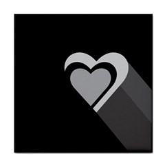 Heart Love Black And White Symbol Face Towel by Celenk