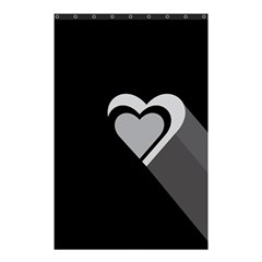 Heart Love Black And White Symbol Shower Curtain 48  X 72  (small)  by Celenk