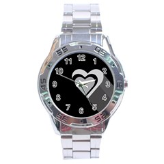 Heart Love Black And White Symbol Stainless Steel Analogue Watch by Celenk