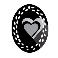 Heart Love Black And White Symbol Oval Filigree Ornament (two Sides) by Celenk