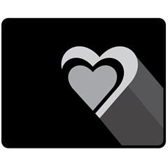 Heart Love Black And White Symbol Double Sided Fleece Blanket (medium)  by Celenk